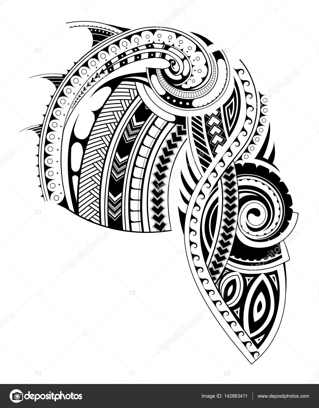 b8028a5fe Diseño de tatuaje maorí estilo pecho y manga. pecho y manga está separados  para el uso conveniente - vectores: plantillas para tatuar — Vector de  akv_lv