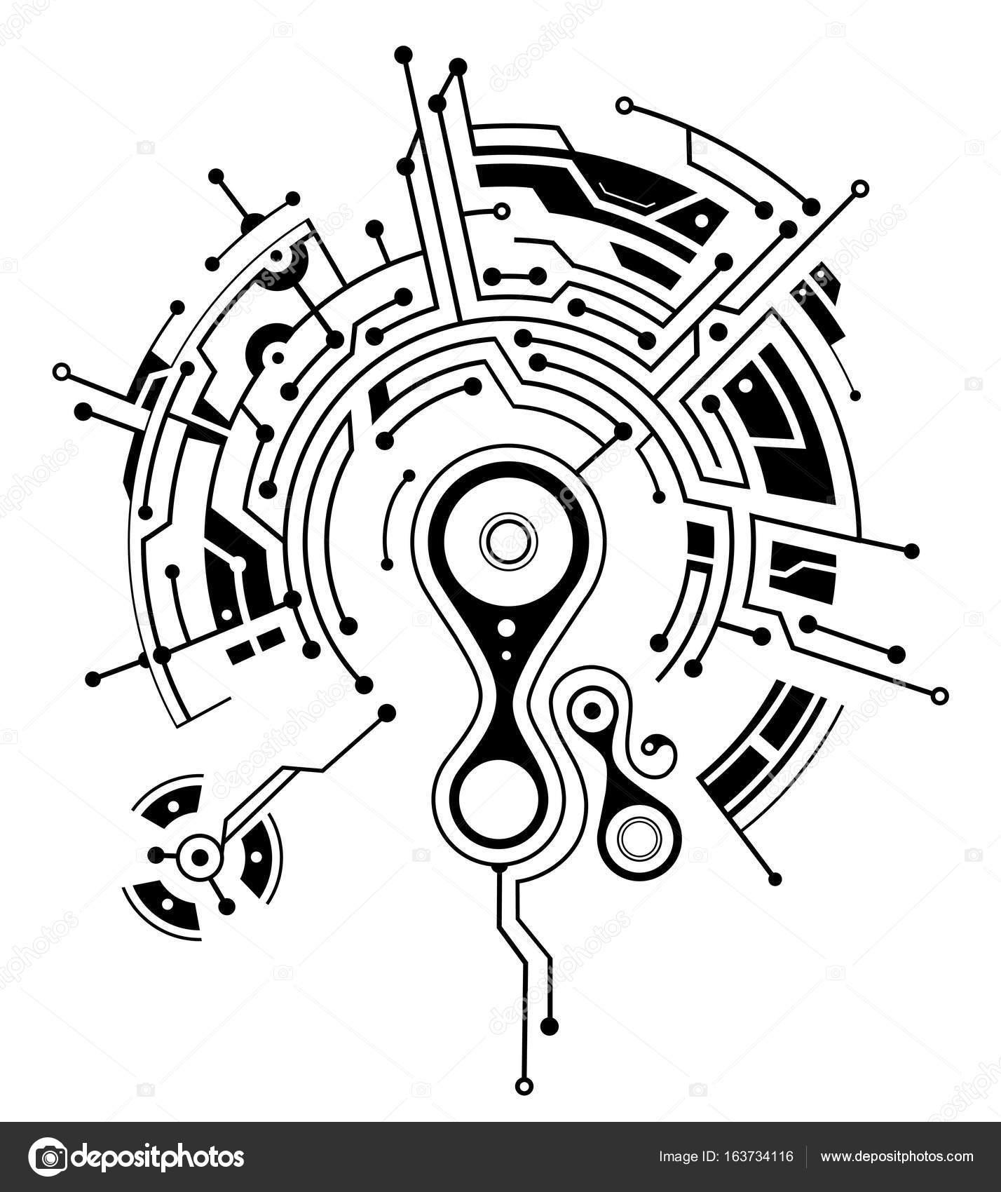 tatouage avec des  u00e9l u00e9ments de circuit imprim u00e9  u2014 image vectorielle akv lv  u00a9  163734116