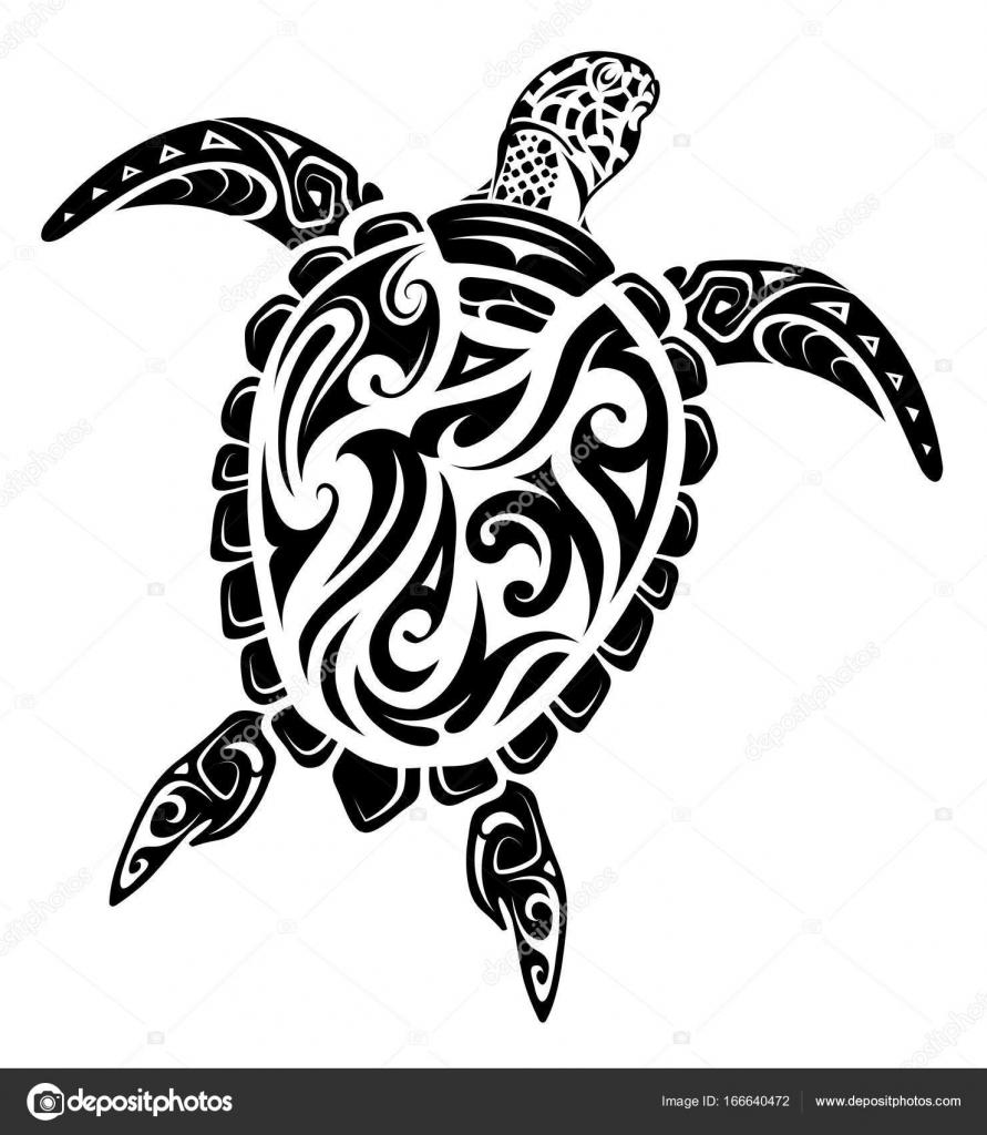 Maori Style Tatouage Tortue Image Vectorielle Akv Lv C 166640472