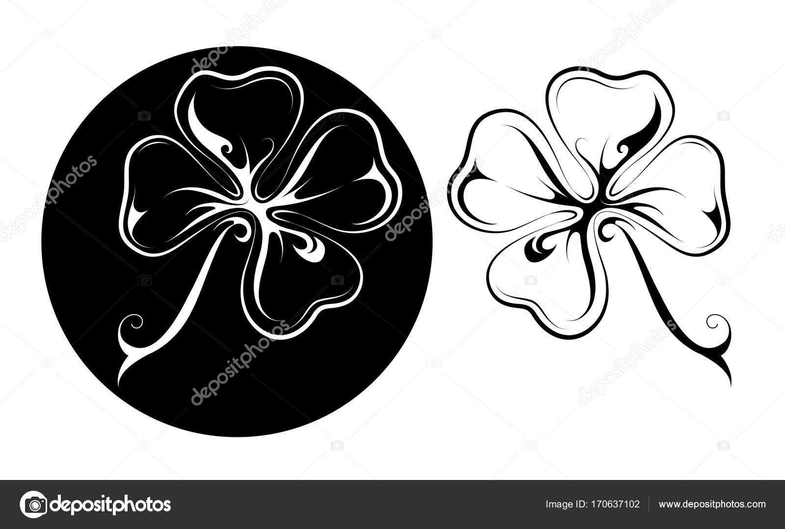 Szczęśliwy Tatuaż Koniczyny Czterech Liści W Dwóch