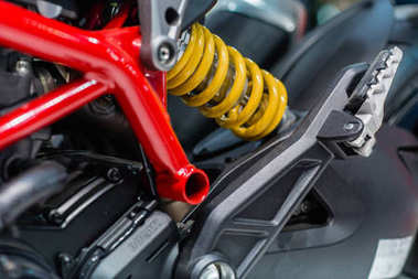 Photo of motorcycle suspension and chassis