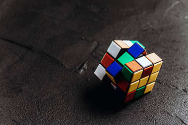 Rubik's cube on black background