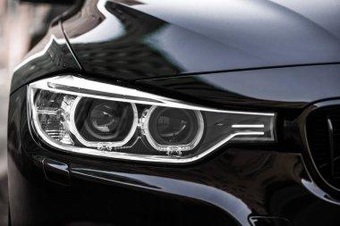 Close-up photo of car headlights