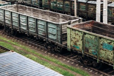 Old freight wagons on the tracks