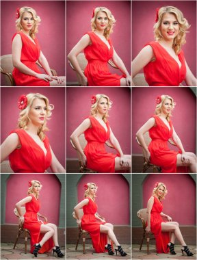 Fashionable attractive blonde woman in red dress sitting on chair. Beautiful elegant woman posing in elegant scenery with a red flower in hair..Sensual gorgeous young woman on high heels in red outfit stock vector