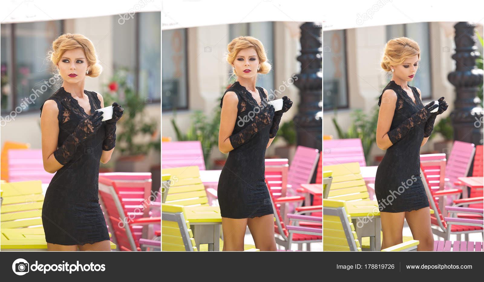 Signora alla moda con abito corto in pizzo nero e sciarpa rossa e tacchi  alti 8e0e552e87e