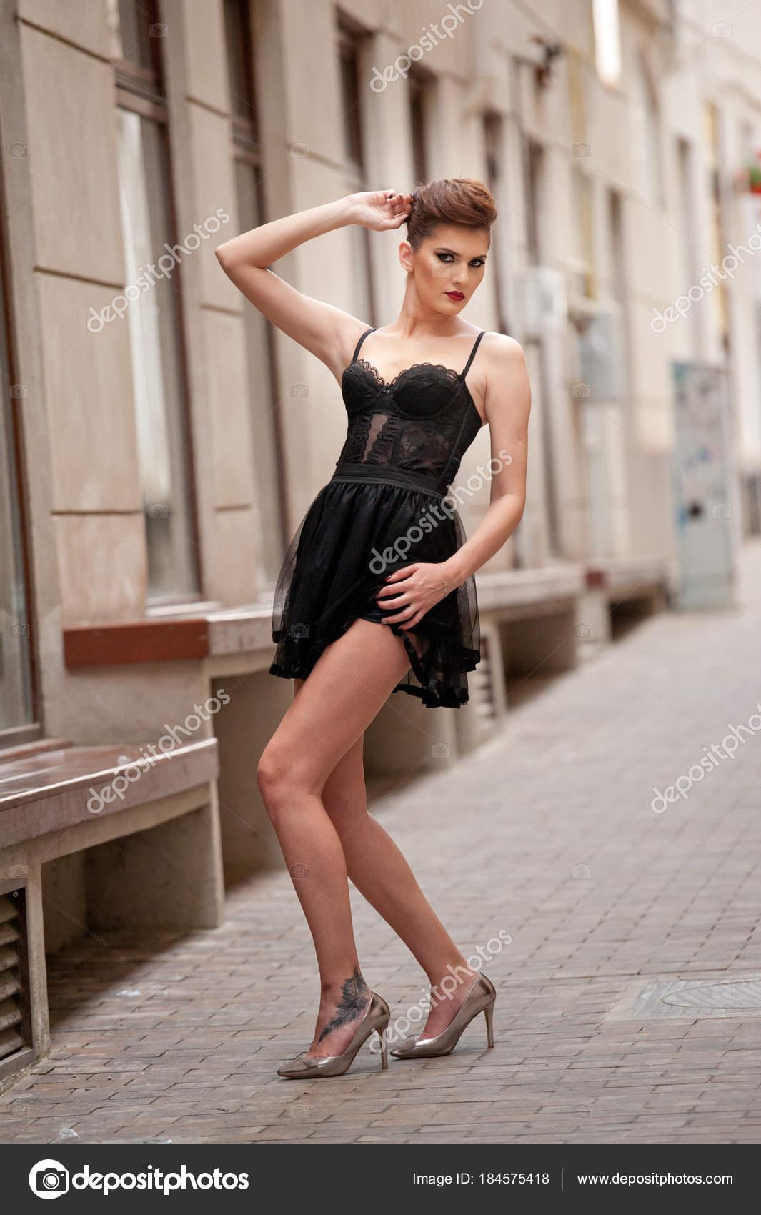 Sensual Girl Long Legs Short Black