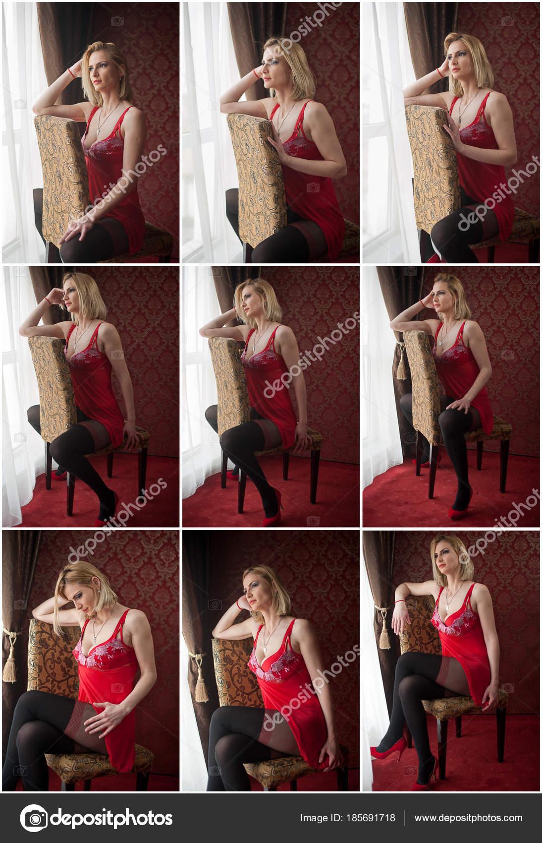 Девушка в красном белье и черными чулками — pic 11