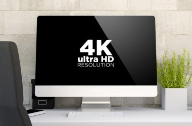 workspace with 4k computer screen