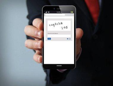 captcha businessman smartphone