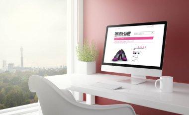 red studio with online shop computer