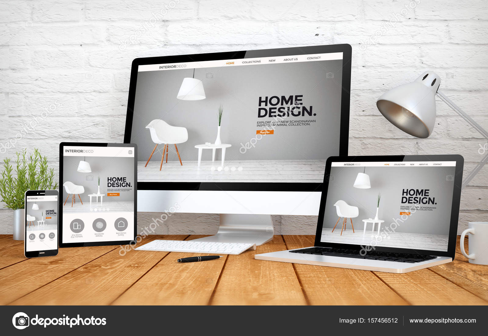 devices with interior design website on screens — Stock Photo ...