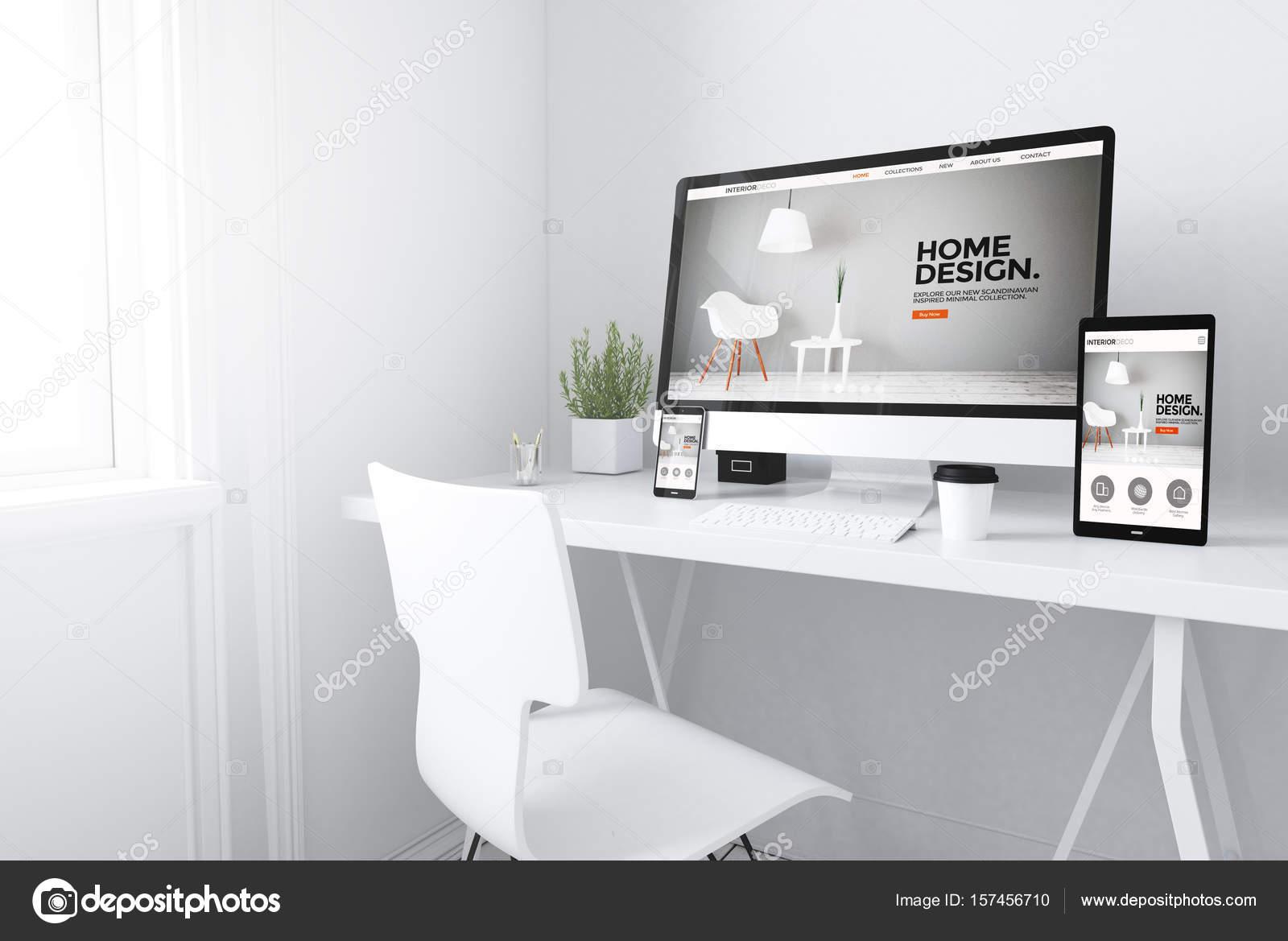 3d rendering van apparaten op tafel met interieur website op schermen foto van georgejmclittle