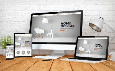devices with interior design website on screens