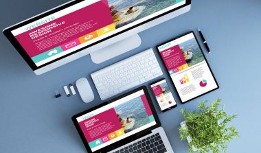devices with modern design website on screens