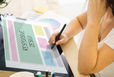 web designer working with a tablet