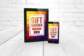 3D visszaadás-ból tabletta pc és smartphone-val ajándék utalvány szöveges képernyőkön