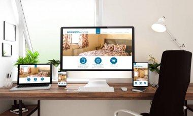 3d rendering of computer, laptop, tablet and smartphone showing bedroom booking website