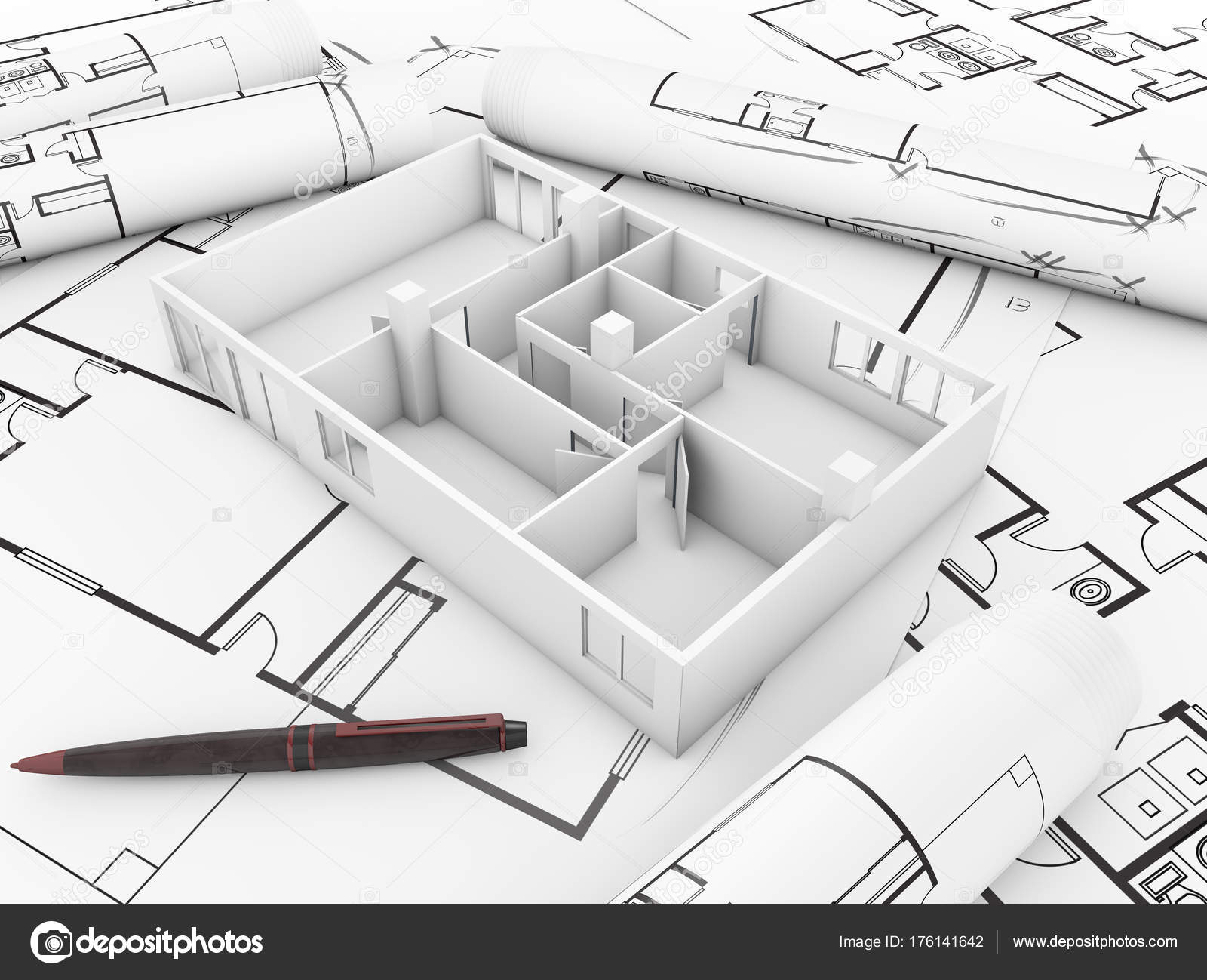 Maison architecture mock dessins techniques images de stock libres de droits