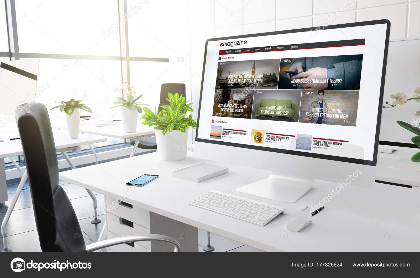 Ordinateur avec magazine design sur Écran travail bureau moderne