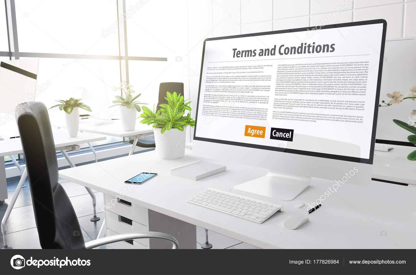 Computer Mit Allgemeinen Geschaftsbedingungen Text Auf Dem