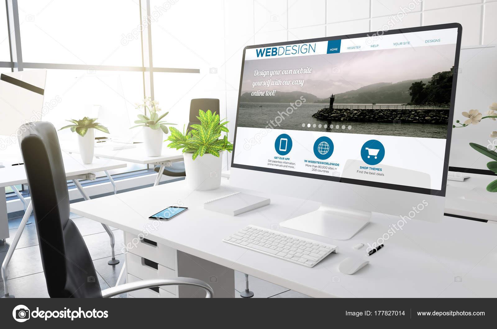Computer Web Design Template Screen Modern Office Workplace Rendering Stock Photo C Georgejmclittle 177827014