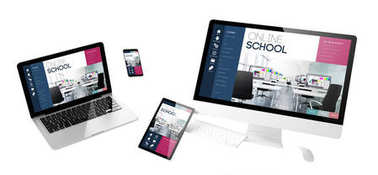 flying devices with online school website, responsive design, 3d rendering