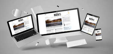 office stuff and devices with news website, 3d rendering
