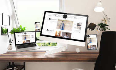 devices with blog website at home office, 3d rendering