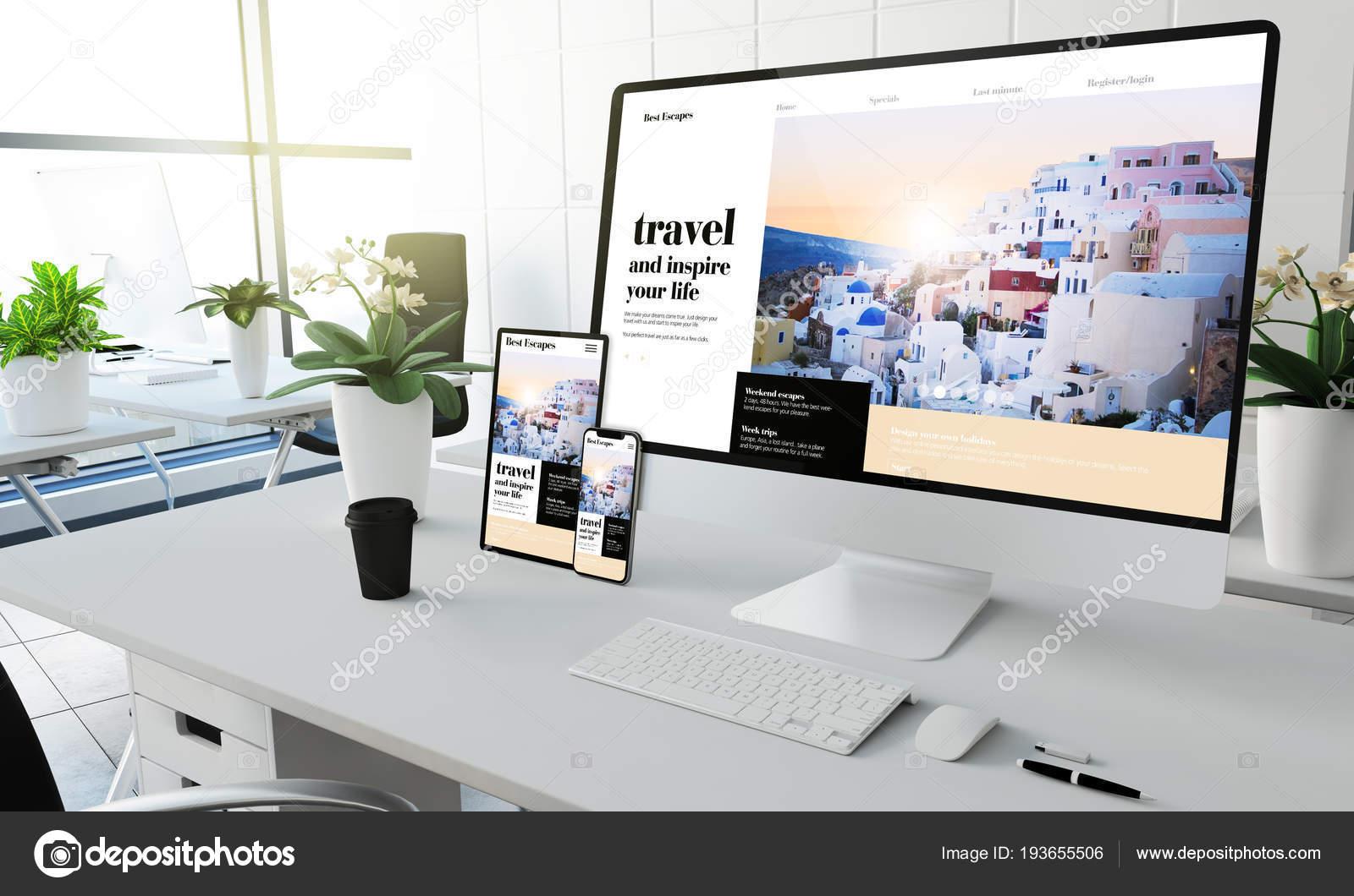 Reisen Sie Inspiration Bildschirm Gerate Mock Coworking Buro