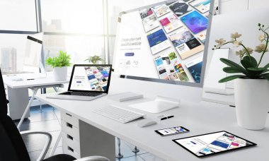 Office responsive devices website builder 3d rendering