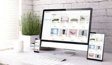 Three mockup devices showing online shop website on a desktop 3d rendering stock vector