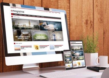 Responsive devices on wooden studio e-magazine website 3d rendering stock vector