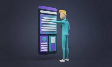 cartoon businessman touching smartphone screen interface 3d rendering