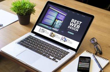 destop laptop with best website design screen