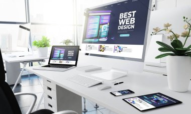 office responsive devices design website 3d rendering
