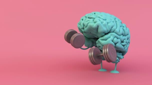 blue brain training with dumbbells 3d rendering