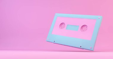 Pink and blue retro cassette 3d rendering