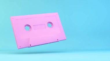 Pink retro cassette illustration 3d rendering