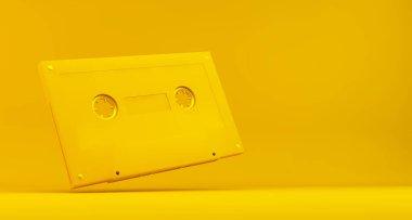 yellow retro cassette 3d rendering