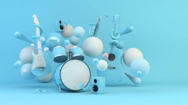 Blue music instruments surrounded by geometric shapes background 3d rendering