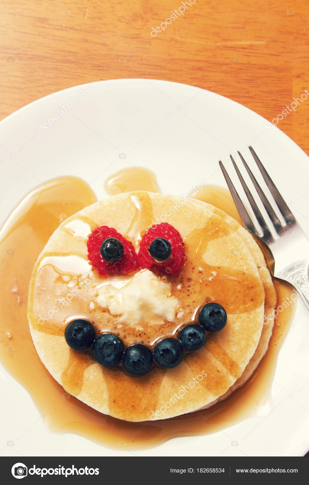 A Pancake Breakfast Arranged To Look Like Face Stock Image