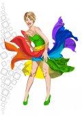 Fotografie Šťastná dívka v šatech rainbow