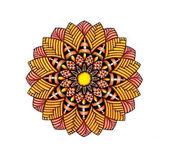 Mandala-virágos és mértani elemekkel grafikus ábrája