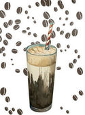 Watercolor cold coffee with red and white stripes straw