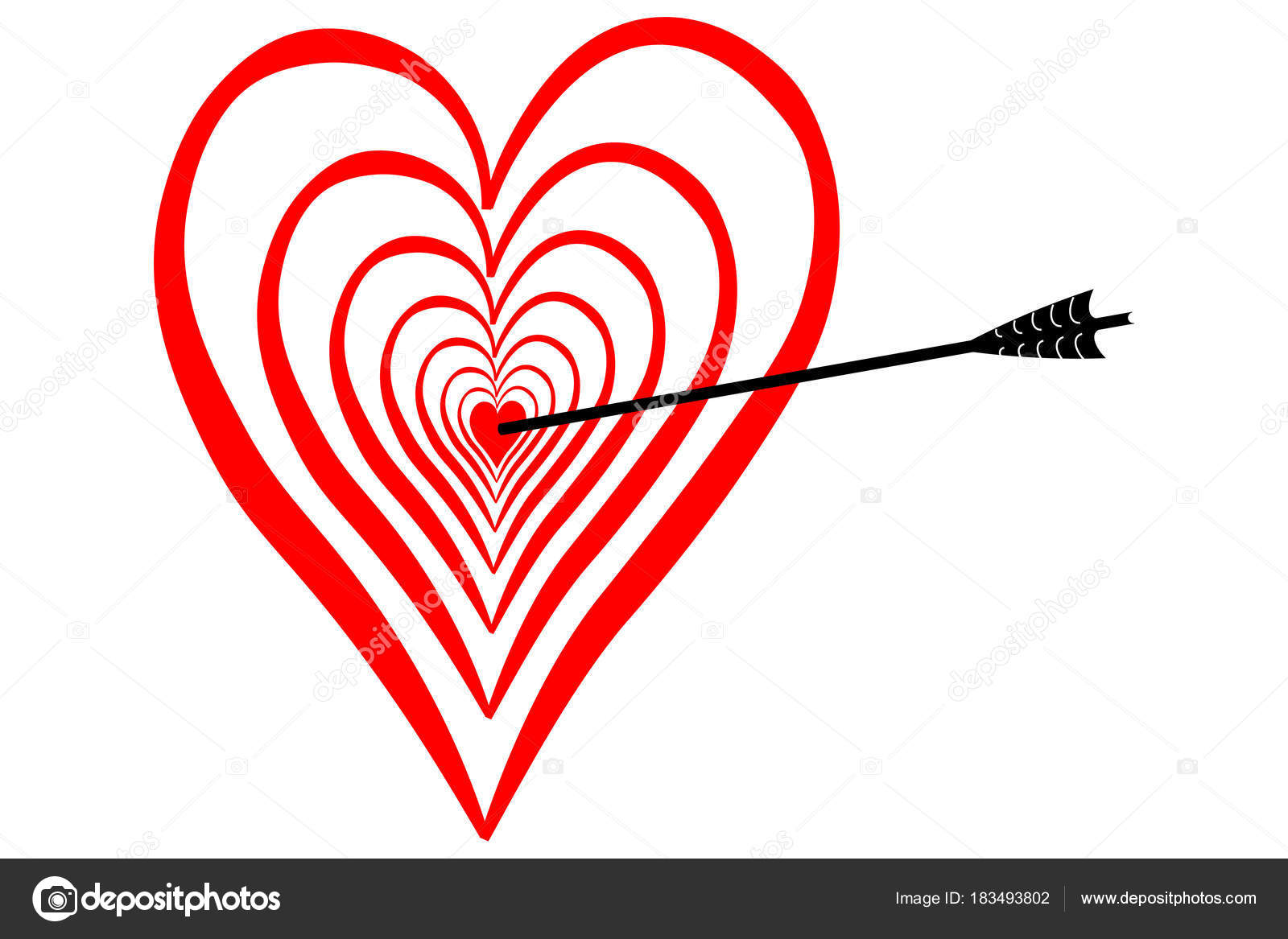 Strike Love Middle Heart Bow Arrow Stock Photo Chromorange