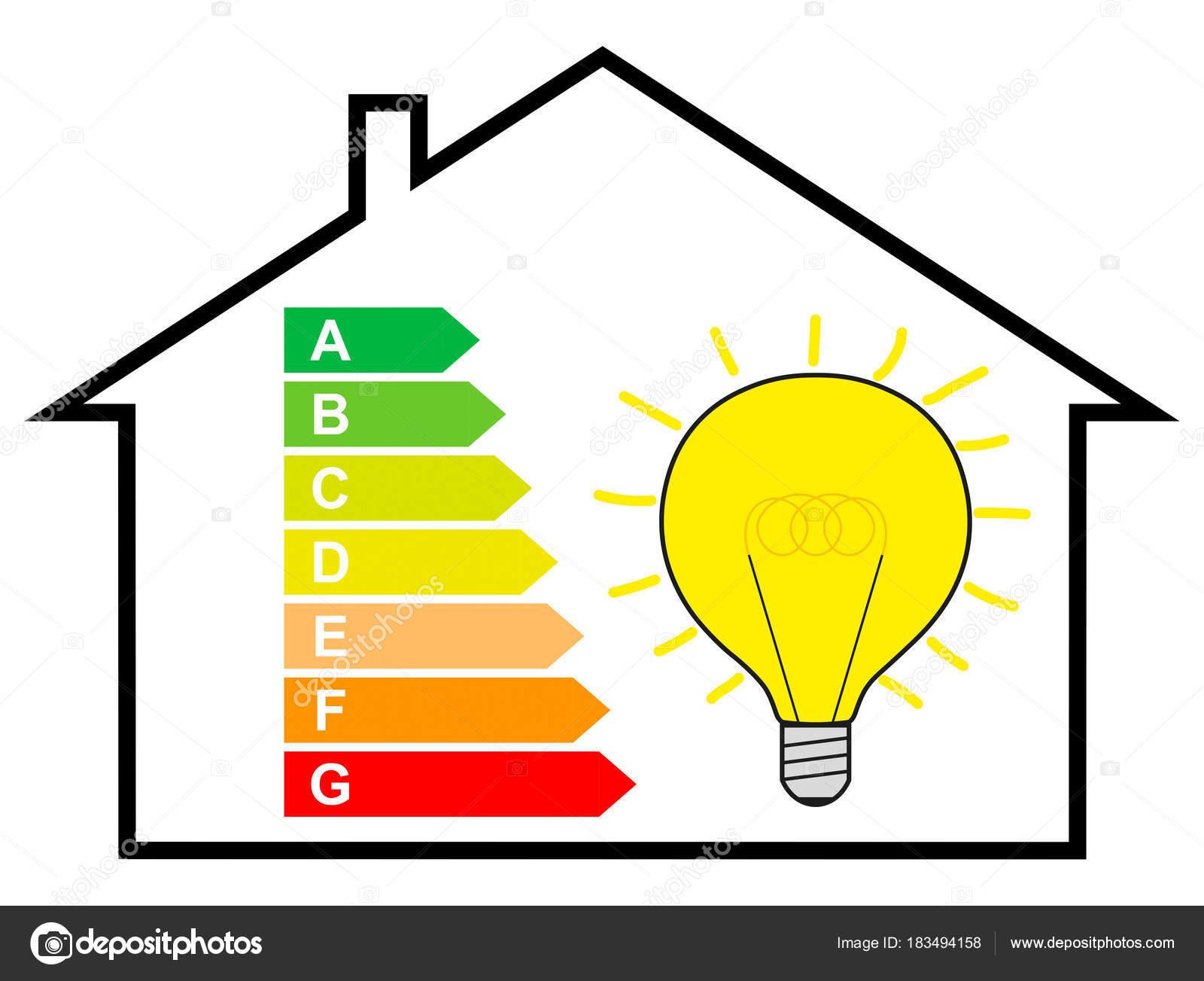 Économie Énergie maison avec Étiquette Énergie ampoule