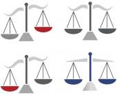 Mzdy jako symbol pro právo a pořádek a barevný motiv obrázku