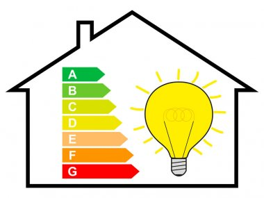 Energy saving, House with Energy Label and Bulb