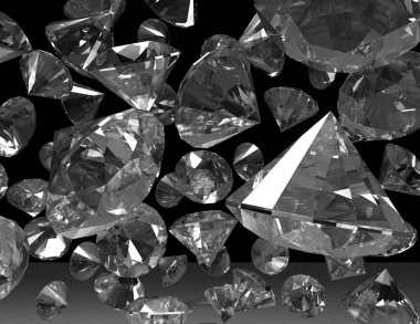 digital visualization of diamonds on dark background